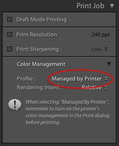 In The Print Job Panel By Default Color Management Setting Is On Managed Printer Many Drivers Seems To Have Problems Properly Accepting